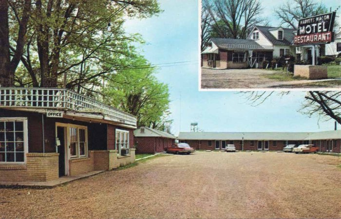 "HARVEY""S MACON MOTEL, Highway 45 North, Macon, Miss. Tel. 327. 14 Modern Units, Electric Heat, Air-Conditioned, Free TV, Tile Bath Tub and Shower Combination. Restaurant adjoining. Mr. & Mrs. W.H. Harvey, Owner. Allen Hunter, Mgr."