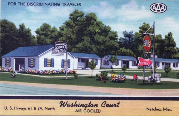 "WASHINGTON COURT, Western Union and Telephone 1611. Natchez, Miss. Located 5 Miles North City Limits in Village of Washington. One Block from Famous Aaron Burr Oaks. AAA. Air Cooled--Natchez' Finest. MWM Color-Litho ""Bursheen"" Finished."
