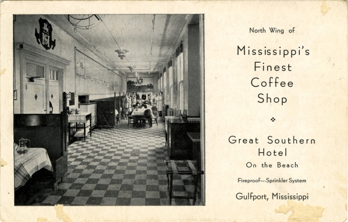 An early post card view of the coffee shop , Cooper Post Card Collection, MDAH