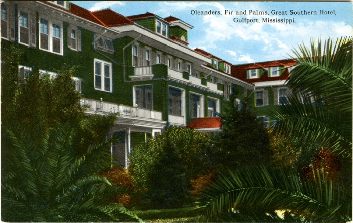 Oleanders, Great Southern Hotel, Gulfport, Cooper Postcard Collection, MDAH