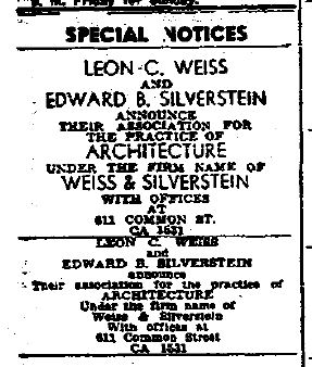 Weiss & Silverstein Advertisement The Times Picayune 09-03-1949