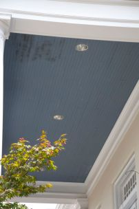 Beadboard ceiling with mold damage