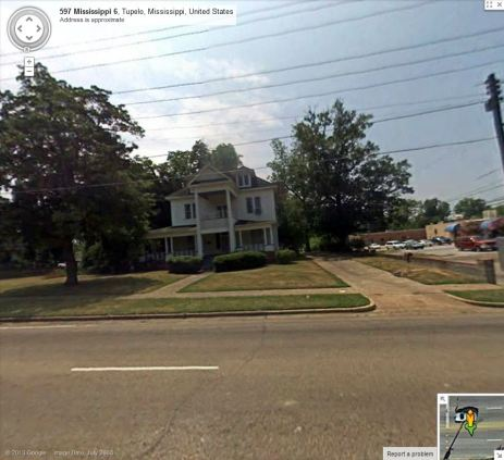 North Elevation Spain House Tupelo, Lee County. from Google StreetView July 2008 accessed 10-14-2013