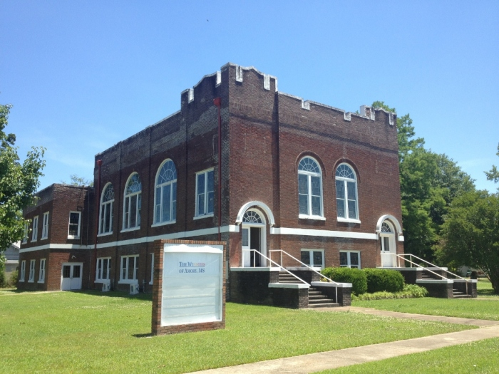 """(former) First Christian Church, Amory (aka """"The Windows"""") (c.1926). Designated October 26, 2013. Photo courtesy MDAH, Historic Preservation Division."""