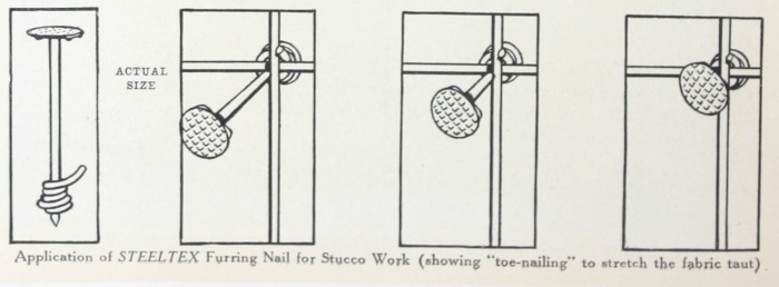 Application of STEELTEX furring Nail for Stucco Work. Page 10 Better Walls For Better Homes. National Steel Fabric Corp. Pittsburgh PA 1927