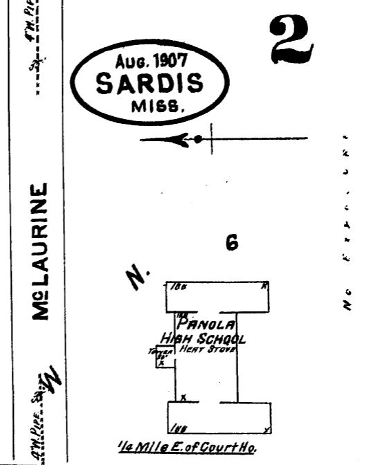 Panola High School. Sardis, Panola County. Sanborn Map Aug. 1907