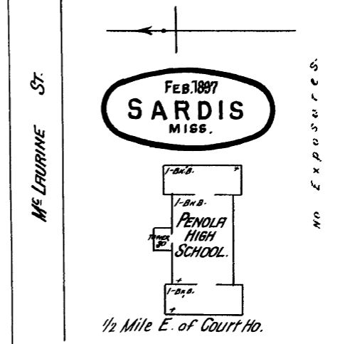 Panola High School. Sardis, Panola County. Sanborn Map Feb. 1897