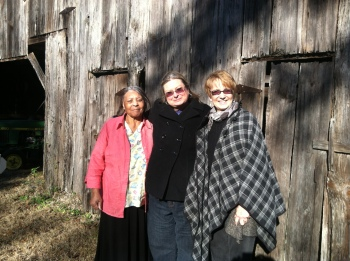 Bev Taite, Becky Jolly-Wood and Noel Vantol on the back roads of Moss Point.