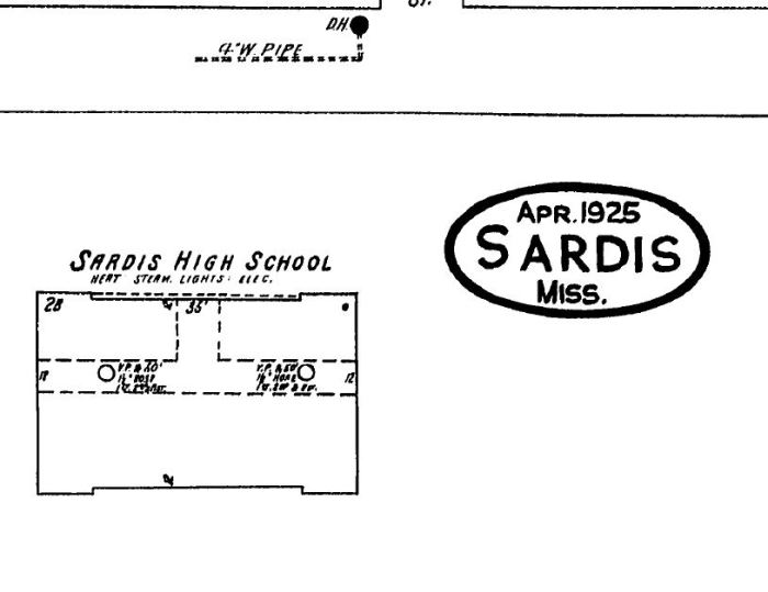 Sardis High School. Sardis, Panola County Sanborn Fire Insurance Map. April 1925