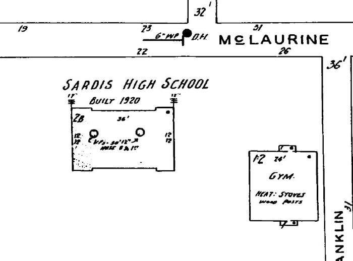 Sardis High School. Sardis, Panola County. Sanborn Map Jan 1940*