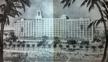 Detail Edgewater Gulf Hotel Biloxi, Harrison County rendering signed by Benj. Marshall, Archt. from 'Way Down South Magazine Nov. 28, 1924 from Harrison County Library collection