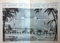 Edgewater Gulf Hotel BIloxi Harrison County rendering signed by Benj. Marshall, Archt. from 'Way Down South Magazine Nov. 28, 1924 from Harrison County Library collection