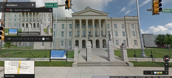 Old Capitol, State Street Jackson, Hinds County. Google Street View Aug 2013  accessed 4-25-2014