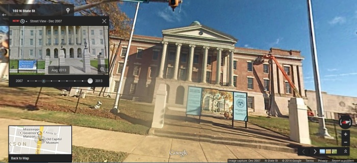 Old Capitol, State Street Jackson, Hinds County. Google Street View Dec 2007.  accessed 4-25-2014