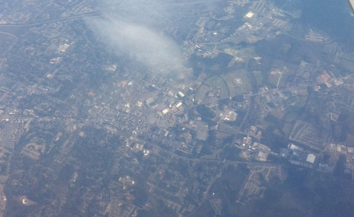 Auburn Alabama from 30,000 feet.  Photo by Author March, 2013.