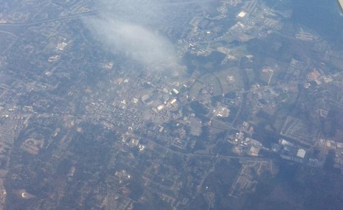 Auburn Alabama from 30,000 feet.  Photo by Author March, 2013.