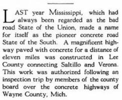 Lee County Concrete roadwork from Concrete Roads Magazine March 1915, Vol. II No. 3