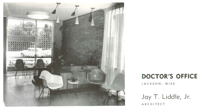 White Waiting room Johnson Wiener medical office Jackson Hinds Co. Photo by Emmet King c1956 Architectural South Sept. 1956