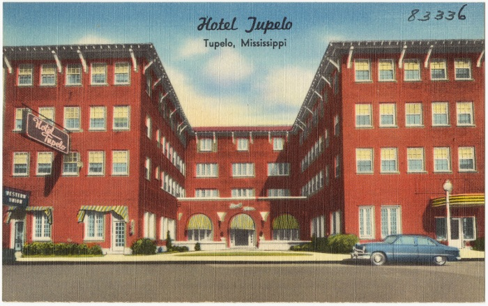 Hotel Tupelo. Tupelo, Lee County c.1950 from The Tichnor Brothers Collection Boston Public Library accessed 8-19-2014