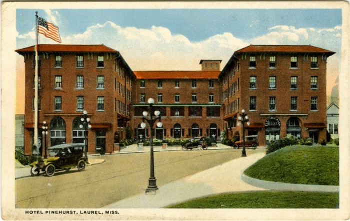Pinehurst Hotel, Laurel, Jones County. c1925 from Cooper Postcard Collection, MDAH accessed 8-19-2014