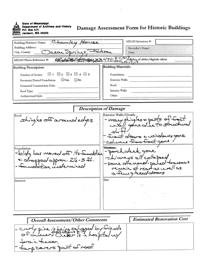 Assessment form Charnly Norwood House. Ocean Springs, Jackson County. MDAH 9-13-2005 from MDAH HRI db accessed 8-24-2014