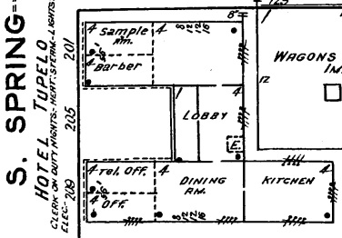 Hotel Tupelo. Tupelo, Lee County. Sanborn Map. July, 1919