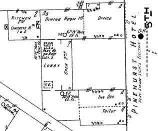 Pinehurst Hotel. Laurel, Jones County. Sanborn Map. June, 1915