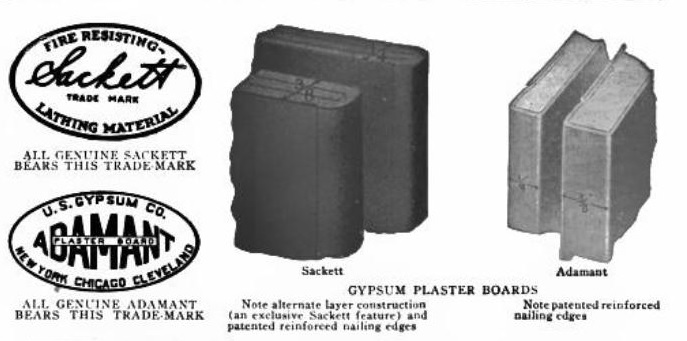 Examples of Sackett & Adamant Plaster Boards.  Sweets Catalog 1920 page 340