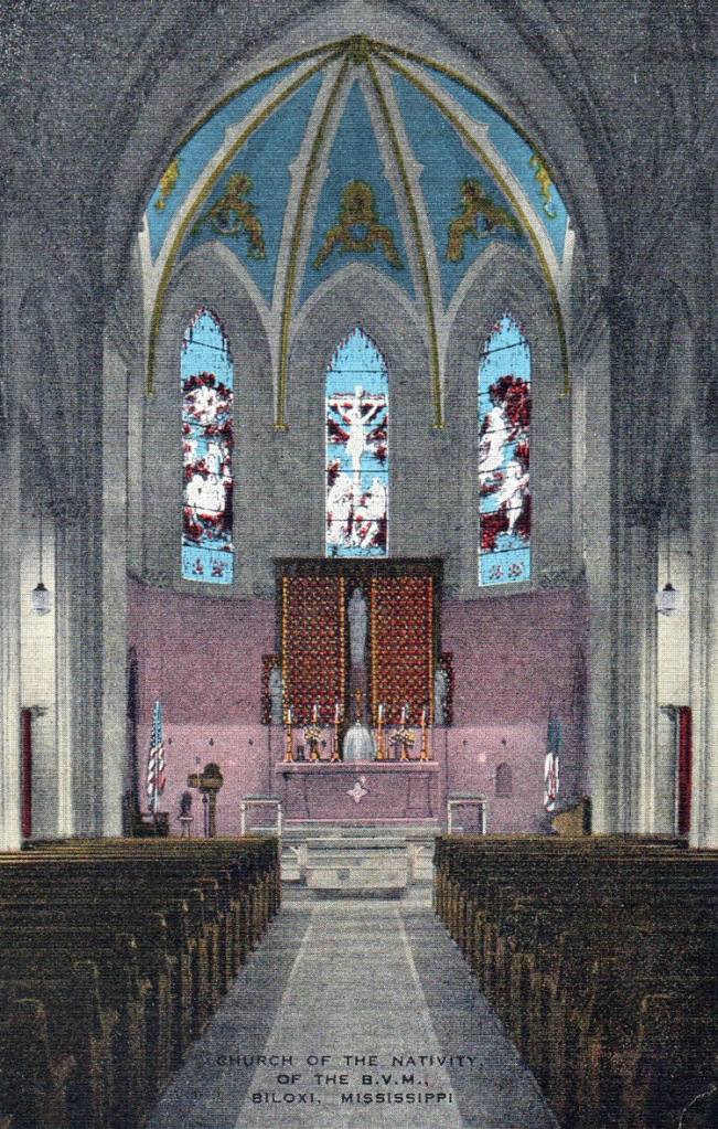 The new altar of rose-pink marble and the art glass windows were installed during the centennial year, the altar being donated by the leading Catholics of the parish.