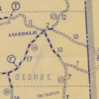 "Merrill Toll Bridge indicated by ""T"". Ferry at Benndale indicated by ""F"". George County MDOT HWY map 1932 http://sp.mdot.ms.gov/Office of Highways/Planning/Maps/State Highway Maps Archive/HWY Map 1932 Road Map of MS.pdf accessed 1-26-2015"