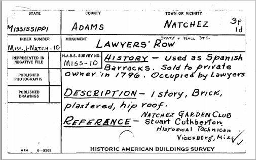 Lawyer's Row Data Card