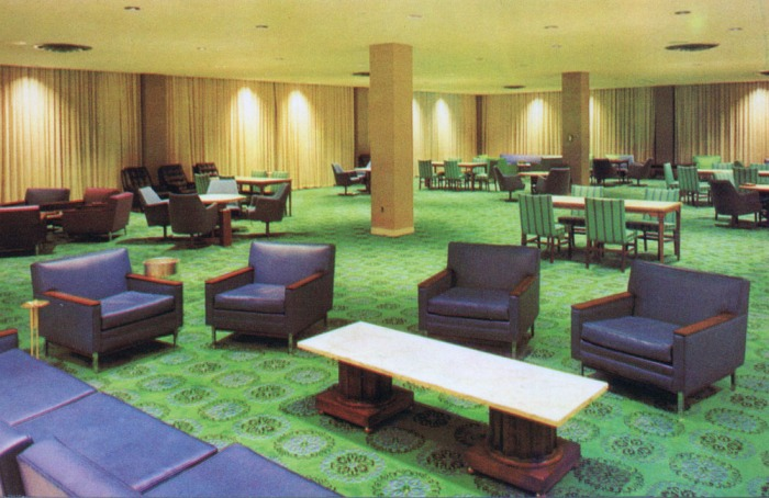 MISSISSIPPI STATE UNIVERSITY, State College, Mississippi. MAIN LOUNGE--This attractive and comfortable lounge, on the second floor of the MSU Union, provides the students a place to relax during their out-of-class hours.