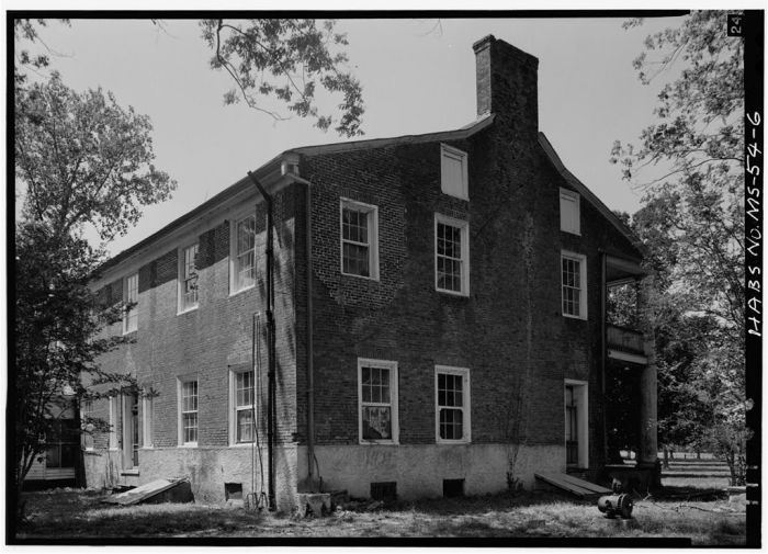 SOUTH REAR AND EAST SIDE. Springfield, U.S. Route 1, Natchez, Adams County, MS [Springfield is actually in Jefferson County, but is filed in Adams County in HABS]. Ralph Clynne, Photographer, March 29, 1934.