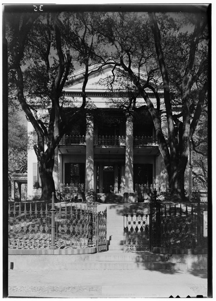 SOUTH ELEVATION (FRONT) - Stanton Hall, Pearl & High Streets, Natchez, Adams County, MS. Lester Jones, Photographer February 21, 1940.