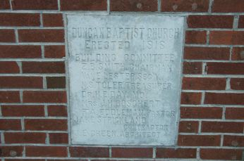 1916 Duncan Baptist Church cornerstone