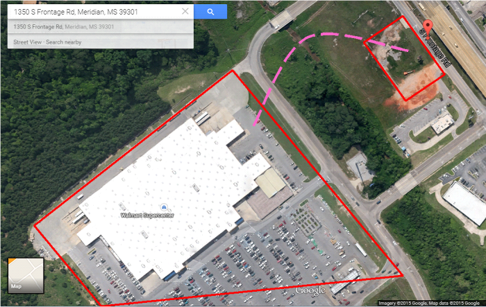 Walmart (left side) and the former site of the Red Hot Truck Stop (upper right).  Meridian, MS