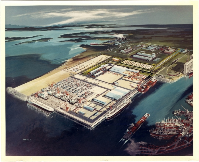 MDAH Collection: Ingalls Shipyard West Bank Expansion Collection Call number: PI/SF/IND/1986.0017 System ID: 105275. Link to the catalog   Ingalls Shipyard West Bank Expansion. Bird's-eye perspective plan.