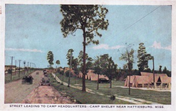 CAMP SHELBY--Near Hattiesburg, Mississippi, was established during the World War. Situated on high rolling pine clad hills this camp will be one of the largest in the country.