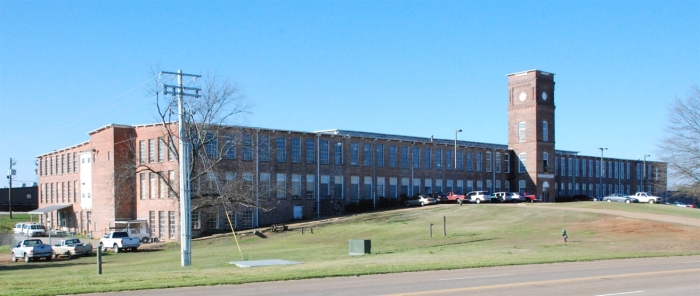 Cooley Building (J.M. Stone Cotton Mill). Photo taken on March 17, 2010 by Jennifer Baughn, downloaded from MDAH Historic Resources Database