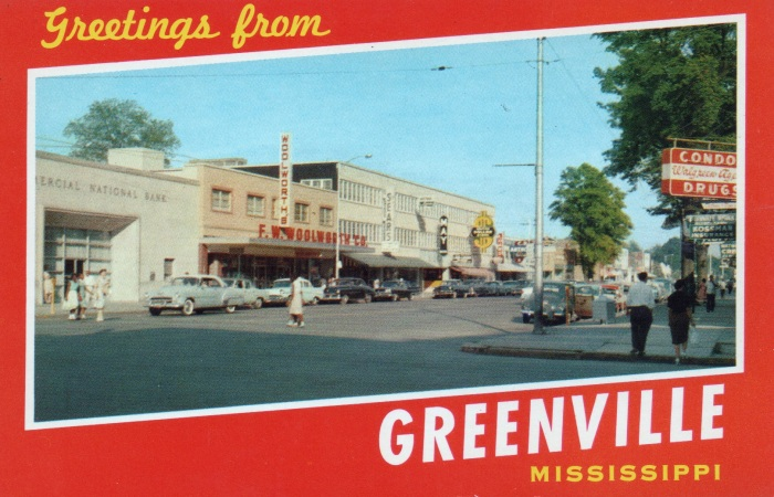 GREETINGS FROM GREENVILLE, MISSISSIPPI . . . Showing a part of the business section of this thriving industrial city, located in the rich Delta land on the banks of the Mighty Mississippi.