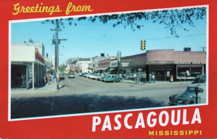 GREETINGS FROM PASCAGOULA, MISSISSIPPI . . . Deep seaport, fishing, industrial and shipping center of the Mississippi Gulf Coast.