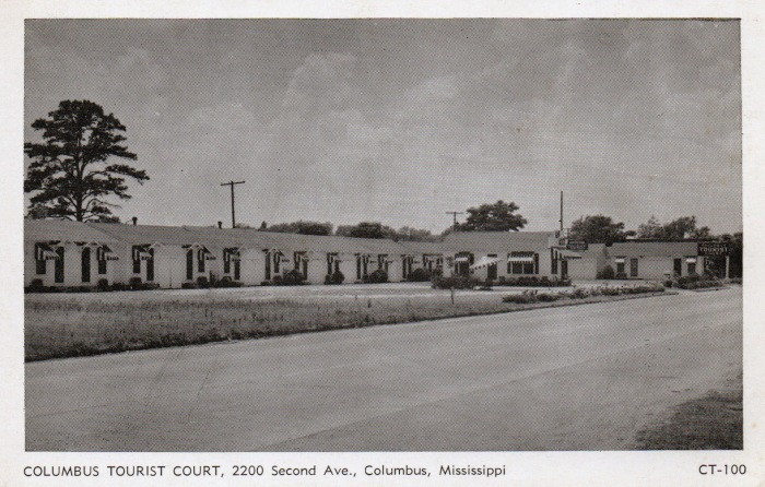 COLUMBUS TOURIST COURT, Columbus, Mississippi. Located at 2400 Second Ave. N. 16 blocks east of Post Office on U.S. Highway 82. Twenty-three modern cottages. Panelray vented gas heaters, large centilating fans in each room. Enjoy the comfort of home away from home. Phone 9148. Mr. and Mrs. W.E. Holland, Owners and Operators.