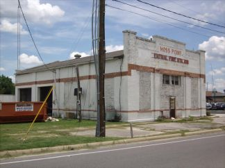 old Moss Point City Hall and Fire Station (1926-July 2015). It appears Hisoner the Mayor of Moss Point has gotten away with thumbing his nose at both state and federal laws after he demolished this building on a Saturday. I comfort myself by recalling the fate of Hisoner Mayor Frank Melton of Jackson, who also seemed to get away with breaking the law. Until . . .