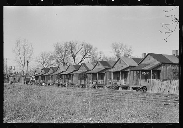Housing across the railroad tracks, Greenville, Mississippi. Lee, Russell (1903-1986), photographer Date Created: 1939 Jan. Medium: 1 negative : nitrate ; 35 mm.