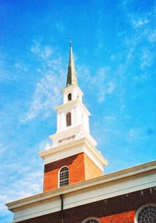 First Baptist Church, Picayune, detail showing its steeple.