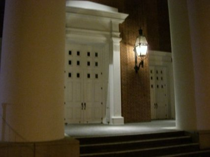 First Baptist Church, Picayune, detail showing its main entrance.