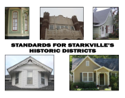 Cover Standards for Starkville's Historic Districts 2012