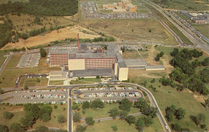 UNIVERSITY MEDICAL CENTER, Jackson, Mississippi. Located at the intersection of North State Street and Woodrow Wilson, the Medical Center houses schools of medicine and nursing and teaching hospital. In the center background is the Veterans Administration Hospital and Murrah High School is in the upper right. Postmarked 1968.