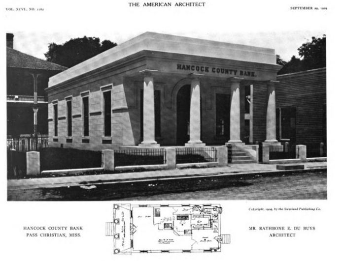 Hancock County Bank Pass Christian MS American Architect and Building News 9-1909