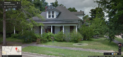 Front Façade, 129 North Second Street, Brookhaven, MS (Google Streetview)